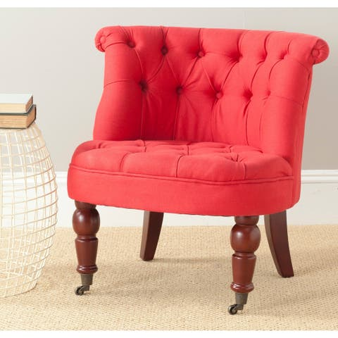 "Safavieh En Vogue Carlin Cranberry Tufted Chair - 26.4"" x 24.2"" x 27"""