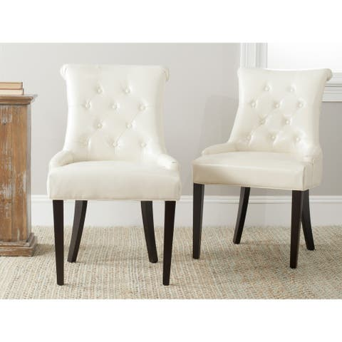 "Safavieh Dining Bowie Cream Leather Dining Chairs (Set of 2) - 22""x25.8""x37"""