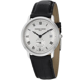 Frederique Constant Men's 'Slim Line' Silver Dial Leather Strap Watch