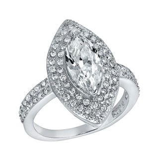 ELYA Sterling Silver Rhodium Plated Marquise Cut Cubic Zirconia Double Halo Ring