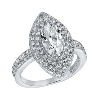 ELYA Sterling Silver Marquise Cut Cubic Zirconia Double Halo Ring