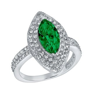 ELYA Sterling Silver Rhodium Plated Marquise Cut Emerald Cubic Zirconia Double Halo Ring
