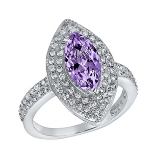 ELYA Sterling Silver Rhodium Plated Marquise Cut Amethyst Cubic Zirconia Halo Ring