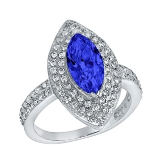ELYA Sterling Silver Rhodium Plated Marquise Cut Blue Cubic Zirconia Halo Ring