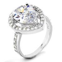 ELYA Sterling Silver Rhodium Plated Pear Cut Cubic Zirconia Halo Ring
