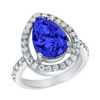 ELYA Sterling Silver Rhodium Plated Pear Cut Blue Cubic Zirconia Halo Ring