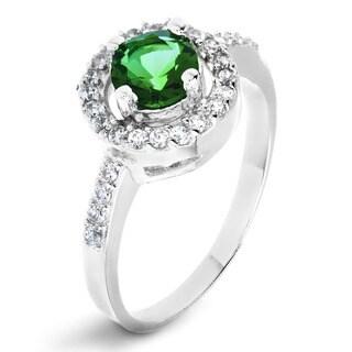 ELYA Sterling Silver Rhodium Plated Round Cut Emerald Cubic Zirconia Halo Ring