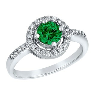 ELYA Sterling Silver Round Cut Emerald Cubic Zirconia Halo Ring
