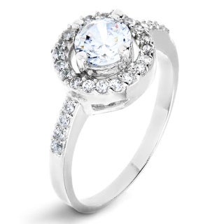 ELYA Sterling Silver Rhodium Plated Round Cut Cubic Zirconia Halo Ring