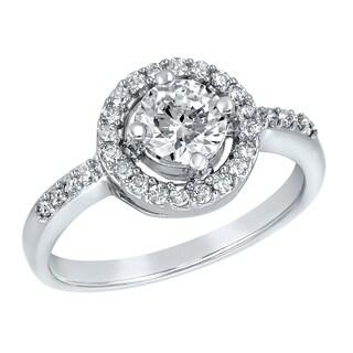 ELYA Sterling Silver Rhodium Plated Round Cut Cubic Zirconia Halo Ring