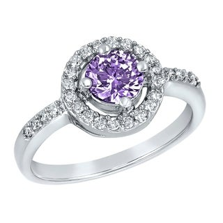 ELYA Sterling Silver Rhodium Plated Round Cut Amethyst Cubic Zirconia Halo Ring