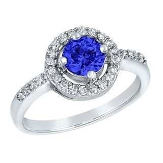 ELYA Sterling Silver Rhodium Plated Round Cut Blue Cubic Zirconia Halo Ring