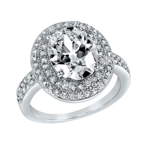 ELYA Sterling Silver Oval Cut Cubic Zirconia Double Halo Ring