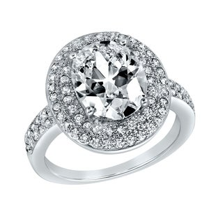 ELYA Sterling Silver Oval Cut Cubic Zirconia Double Halo Ring (4 options available)