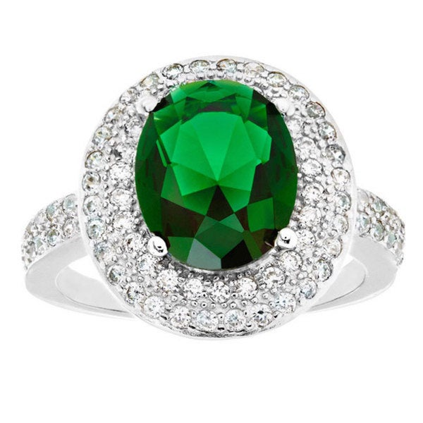 ELYA Sterling Silver Rhodium Plated Oval Cut Emerald Cubic Zirconia Double Halo Ring