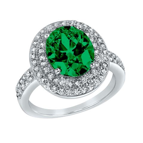 ELYA Sterling Silver Oval Cut Emerald Cubic Zirconia Double Halo Ring