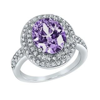ELYA Sterling Silver Rhodium Plated Oval Cut Amethyst Cubic Zirconia Halo Ring