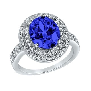 ELYA Sterling Silver Rhodium Plated Oval Cut Blue Cubic Zirconia Halo Ring