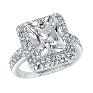 ELYA Sterling Silver Rhodium Plated Radiant Cut Cubic Zirconia Double Halo Ring