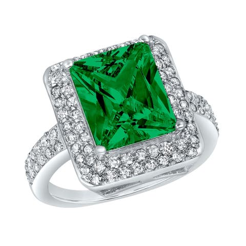 ELYA Sterling Silver Emerald Cubic Zirconia Double Halo Ring
