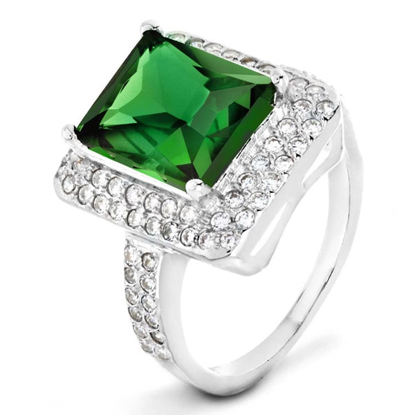 ELYA Sterling Silver Rhodium Plated Radiant Cut Emerald Cubic Zirconia Double Halo Ring