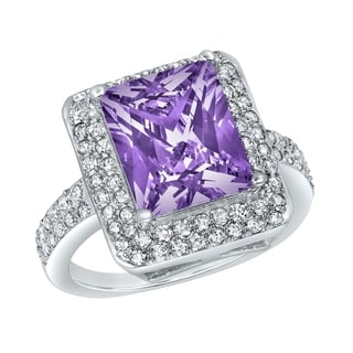 ELYA Sterling Silver Rhodium Plated Radiant Cut Amethyst Cubic Zirconia Double Halo Ring