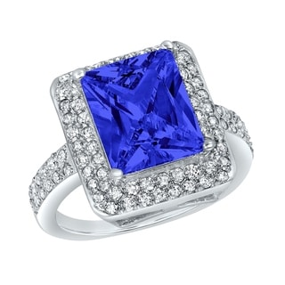 ELYA Sterling Silver Rhodium Plated Radiant Cut Blue Cubic Zirconia Double Halo Ring