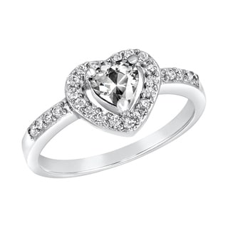 ELYA Sterling Silver Rhodium Plated Heart Cut Cubic Zirconia Halo Ring