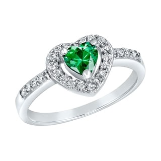 ELYA Sterling Silver Rhodium Plated Heart Cut Emerald Cubic Zirconia Halo Ring