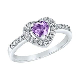 ELYA Sterling Silver Rhodium Plated Heart Cut Amethyst Cubic Zirconia Halo Ring