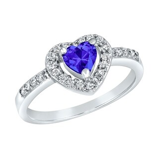 ELYA Sterling Silver Rhodium Plated Heart Cut Blue Cubic Zirconia Halo Ring