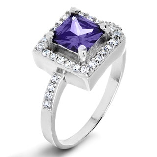 ELYA Sterling Silver Rhodium Plated Princess Cut Cubic Zirconia Halo Ring