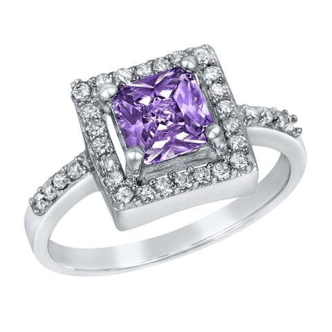 ELYA Sterling Silver Princess Cut Cubic Zirconia Halo Ring