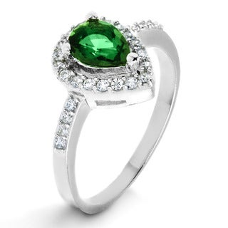 ELYA Sterling Silver Rhodium Plated Pear Cut Emerald Cubic Zirconia Halo Ring