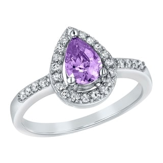 ELYA Sterling Silver Rhodium Plated Pear Cut Amethyst Cubic Zirconia Halo Ring