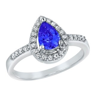 ELYA Sterling Silver Rhodium Plated Pear Cut Blue Cubic Zirconia Halo Ring