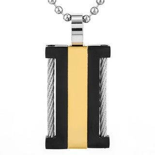 Tri-color Stainless Steel Wire Dog Tag Necklace