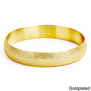 Goldplated Stainless Steel Sandblasted Bangle Bracelet