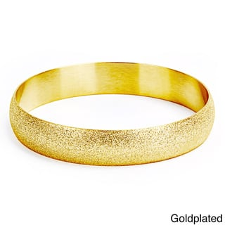 Goldplated Stainless Steel Sandblasted Bangle Bracelet|https://ak1.ostkcdn.com/images/products/8307120/8307120/Goldplated-Stainless-Steel-Sandblasted-Bangle-Bracelet-P15623432.jpg?impolicy=medium
