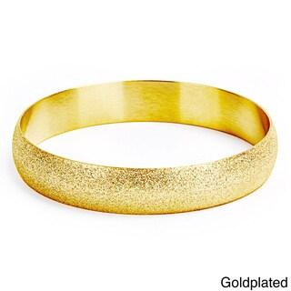 Goldplated Stainless Steel Sandblasted Bangle Bracelet