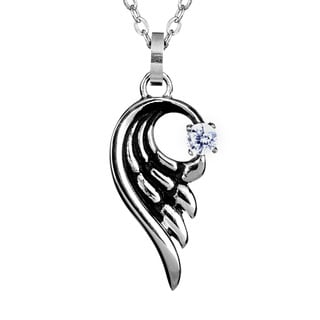 Stainless Steel Clear Cubic Zirconia Angel Wing Necklace