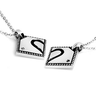 Stainless Steel Black Enamel and Cubic Zirconia Half Heart Necklace