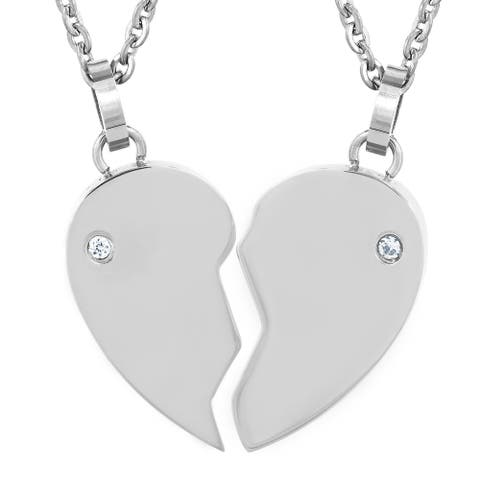 Stainless Steel Cubic Zirconia Engraveable Half Heart Necklace Set