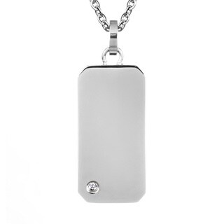 Stainless Steel Cubic Zirconia Accent Engraveable Mini Dog Tag Necklace