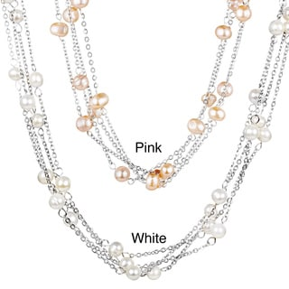 ELYA Stainless Steel Freshwater Pearl Multi-strand Necklace (6-7 mm)