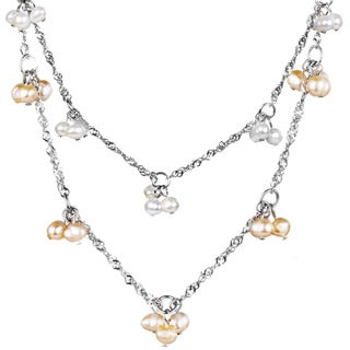 ELYA Freshwater Pearl Cluster Stainless Steel Necklace (4 - 5mm)