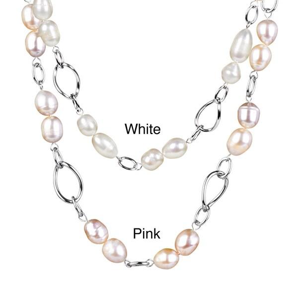 ELYA Stainless Steel Freshwater Pearl Link Necklace (9-10 mm)