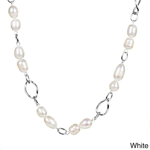 ELYA Stainless Steel Freshwater Pearl Link Necklace (9.5-10 mm) - Silver