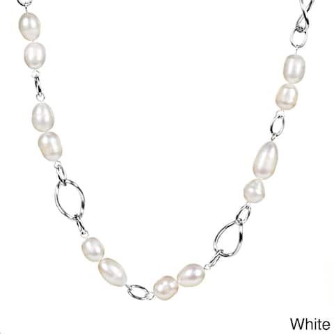 ELYA Stainless Steel Freshwater Pearl Link Necklace (9.5-10 mm)