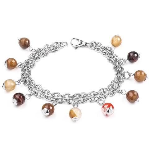 ELYA Stainless Steel Agate Bead Bracelet